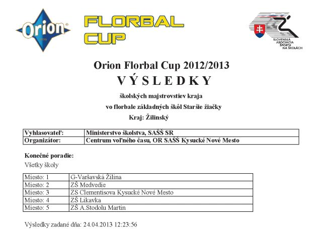 Orion Florbal Cup 2012/2013